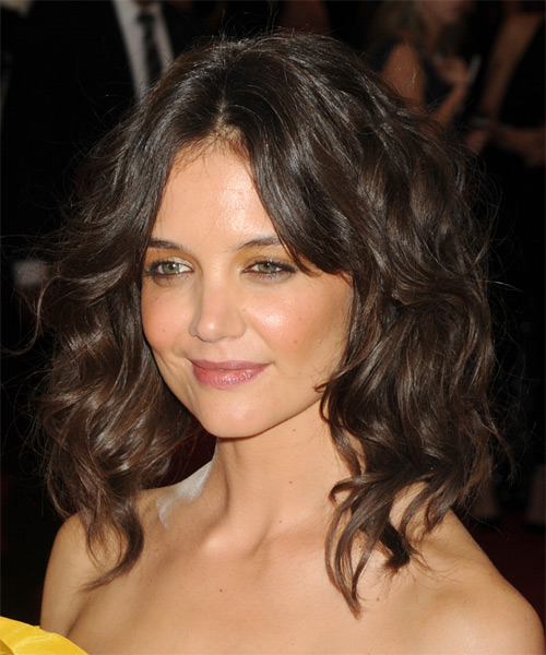 Katie Holmes Medium Wavy Casual   Hairstyle   - Medium Brunette - Side on View