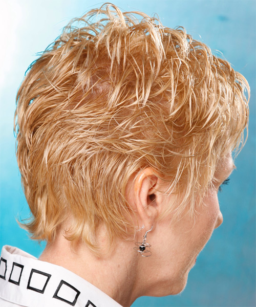 Short Wavy Casual    Hairstyle with Layered Bangs  - Light Golden Blonde Hair Color - Side on View
