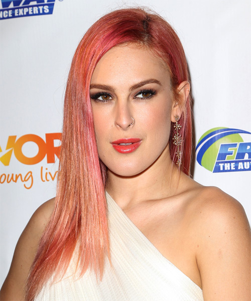Rumer Willis Long Straight   Light Red   Hairstyle   - Side on View
