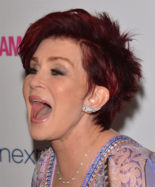 Sharon Osbourne Short Straight Casual    Hairstyle   -  Red Hair Color - Side on View