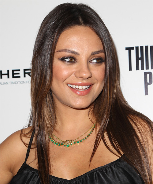 Mila Kunis Long Straight Hairstyle for Round Face Shapes