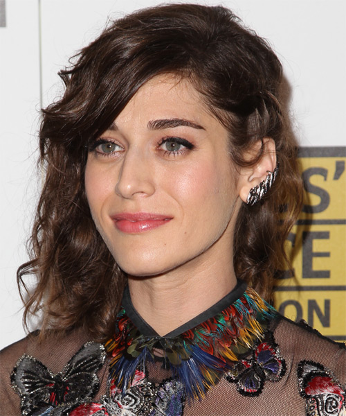 Lizzy Caplan Long Curly    Brunette  Half Up Hairstyle   - Side on View