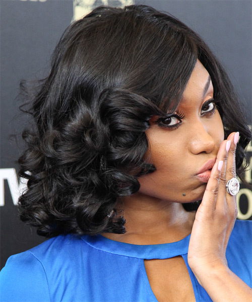 Angell Conwell Medium Curly Formal   Hairstyle with Side Swept Bangs  - Black - Side on View