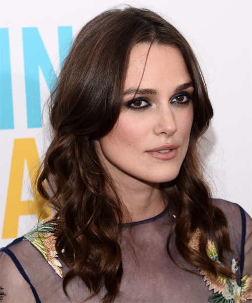 Keira Knightley Long Wavy Casual   Hairstyle   - Dark Brunette - Side on View