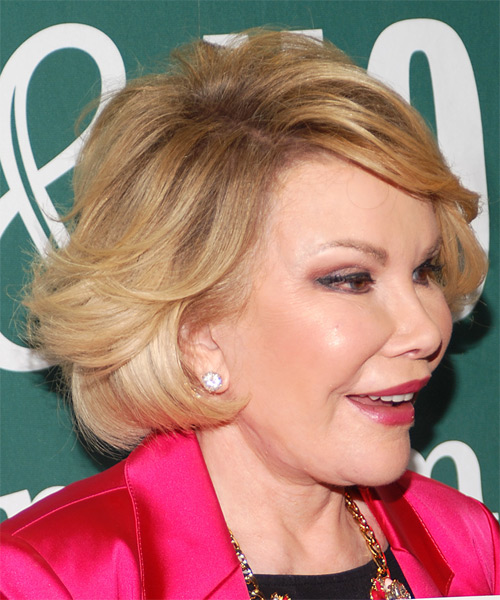 Joan Rivers Short Straight Formal   Hairstyle with Side Swept Bangs  - Medium Blonde (Golden) - Side on View