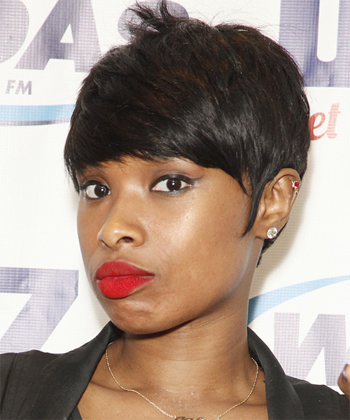 Jennifer Hudson Short Straight Formal   Hairstyle with Side Swept Bangs  - Dark Brunette - Side on View