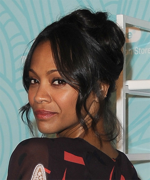Zoe Saldana Updo Long Curly Formal  Updo Hairstyle   - Black - Side on View