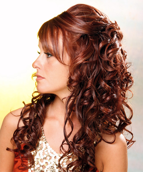 Long Curly Formal   Half Up Hairstyle   - Medium Mahogany Red Hair Color - Side on View