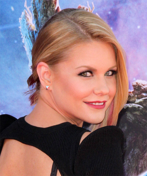 Carrie Keagan Half Up Medium Straight Formal  Half Up Hairstyle   - Medium Blonde - Side on View