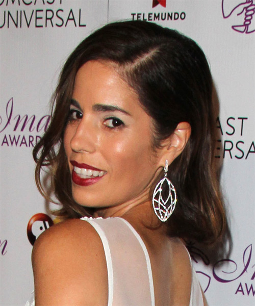 Ana Ortiz Medium Straight Formal   Hairstyle   - Dark Brunette (Chocolate) - Side on View