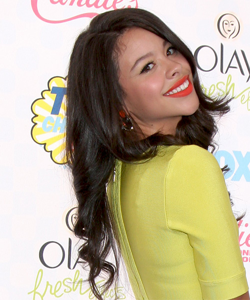 Cierra Ramirez Long Wavy Formal   Hairstyle   - Black - Side on View