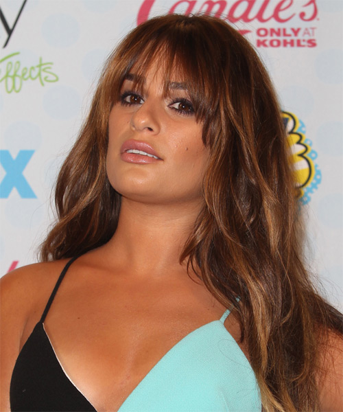 Lea Michele Long Straight Casual   Hairstyle with Layered Bangs  (Auburn) - Side on View