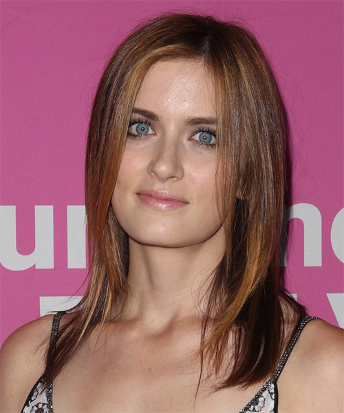 Anna Wood Long Straight    Auburn Brunette   Hairstyle   - Side on View