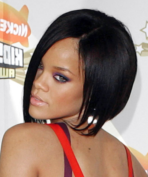Rihanna Medium Straight Alternative Asymmetrical  Hairstyle   - Black - Side on View
