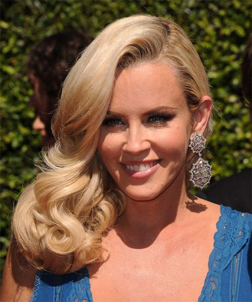 Jenny McCarthy Long Wavy Formal    Hairstyle   - Honey Hair Color - Side on View