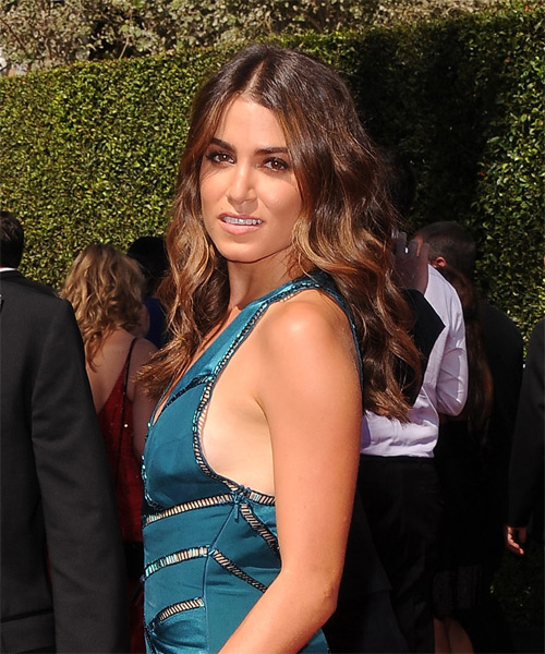 Nikki Reed Long Wavy Casual   Hairstyle   - Medium Brunette - Side on View