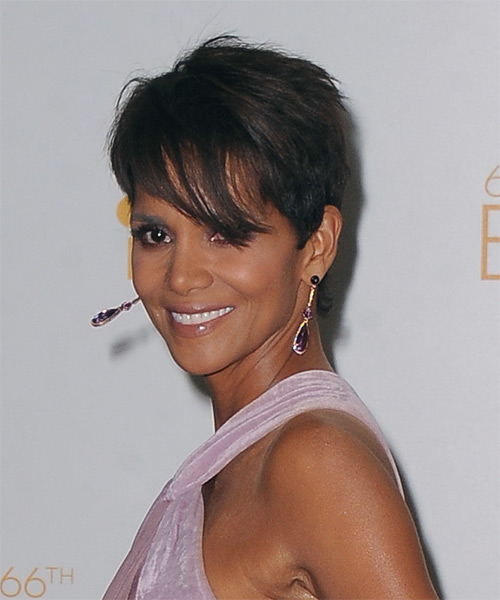 Halle Berry Short Straight Casual    Hairstyle with Side Swept Bangs  - Dark Brunette Hair Color - Side on View