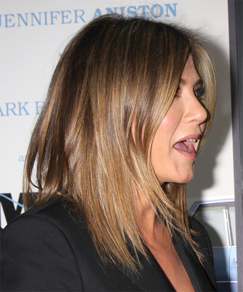 Jennifer Aniston Medium Straight    Caramel Brunette   Hairstyle   with Dark Blonde Highlights - Side on View