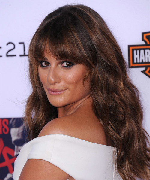 Lea Michele Long Wavy Casual    Hairstyle with Blunt Cut Bangs  -  Mahogany Brunette Hair Color - Side on View