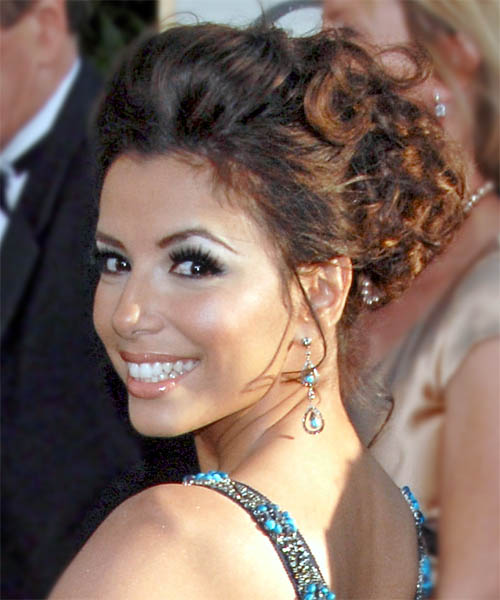 Eva Longoria Parker Updo Long Curly Formal Wedding Updo Hairstyle   - Side on View