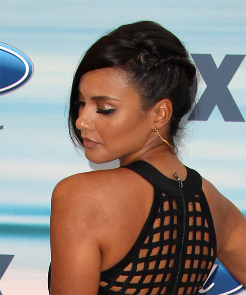 Jessica Lucas Dark Brunette Fall Updo with Side Swept Bangs