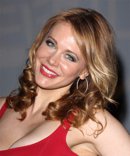 Maitland Ward Long Wavy   Light Copper Brunette   Hairstyle   with Dark Blonde Highlights - Side on View