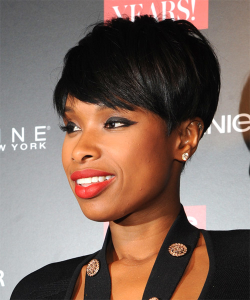 Jennifer Hudson Short Straight   Black    Hairstyle with Side Swept Bangs  - Side on View