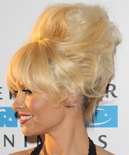 Pamela Anderson Long Straight Alternative  Updo Hairstyle with Layered Bangs  - Medium Blonde (Honey) - Side on View