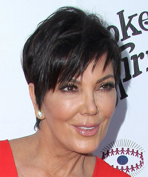Kris Jenner Short Straight Casual   Hairstyle   - Dark Brunette - Side on View