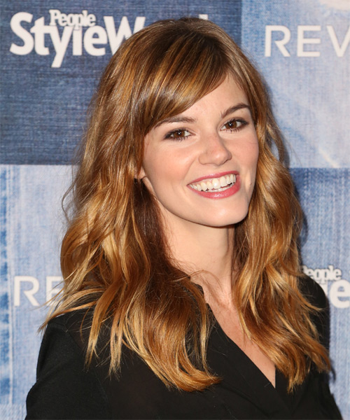 Rachel Melvin Long Wavy Casual   Hairstyle with Side Swept Bangs  - Medium Red (Copper) - Side on View