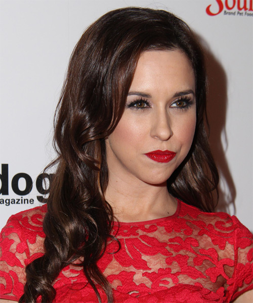 Lacey Chabert Long Wavy Formal   Hairstyle   - Dark Brunette (Chocolate) - Side on View