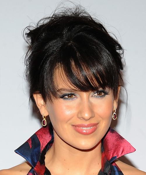 Hilaria Baldwin Long Straight Casual   Updo Hairstyle with Side Swept Bangs  - Black  Hair Color - Side View