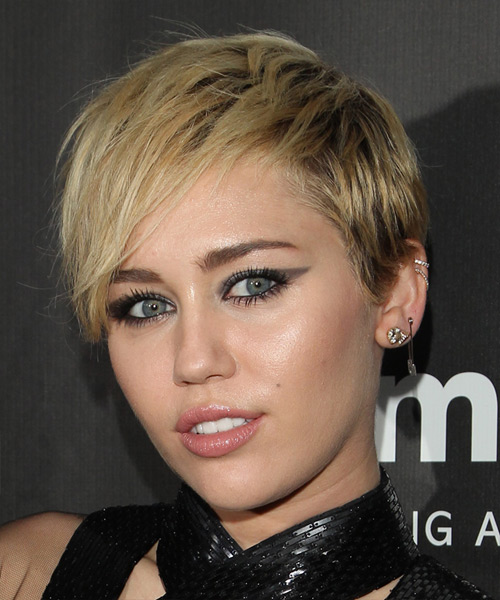 Miley Cyrus Short Straight    Blonde   Hairstyle   - Side View