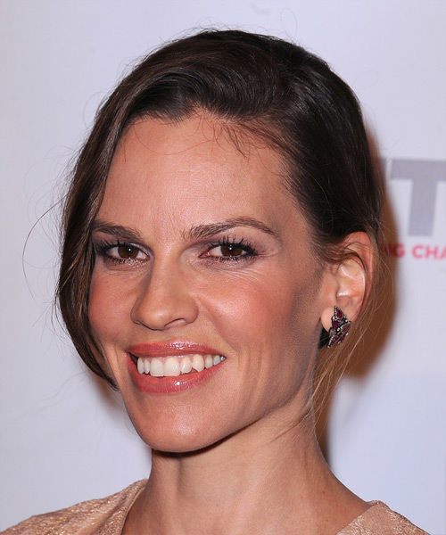 Hilary Swank Long Straight Casual   Updo Hairstyle   -  Chocolate Brunette Hair Color - Side View