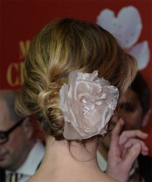 Eva Herzigova Long Wavy Formal  Updo Hairstyle   - Dark Blonde - Side View
