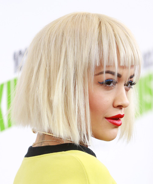 Rita Ora Medium Straight   Light Blonde Bob  Haircut with Blunt Cut Bangs  - Side View