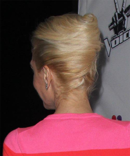 Gwen Stefani Long Straight   Golden  Updo    - Side View