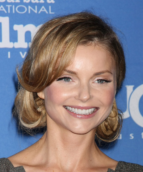 Izabella Miko Long Straight Formal  Updo Hairstyle   - Light Brunette - Side View
