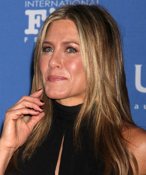 Jennifer Aniston Long Straight Casual   Hairstyle   - Light Brunette - Side View