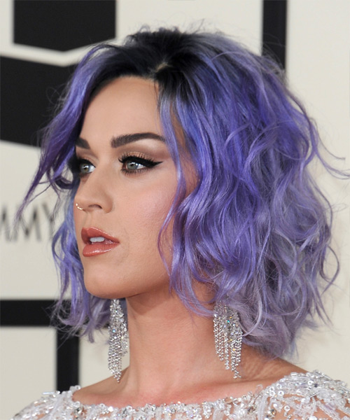 Katy Perry Medium Wavy Casual   Hairstyle   - Purple - Side View