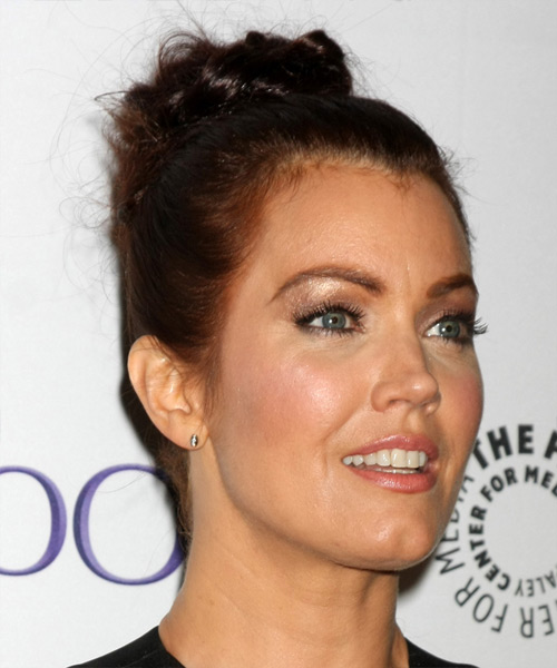 Bellamy Young Long Straight Formal Wedding Updo Hairstyle   - Dark Brunette - Side View