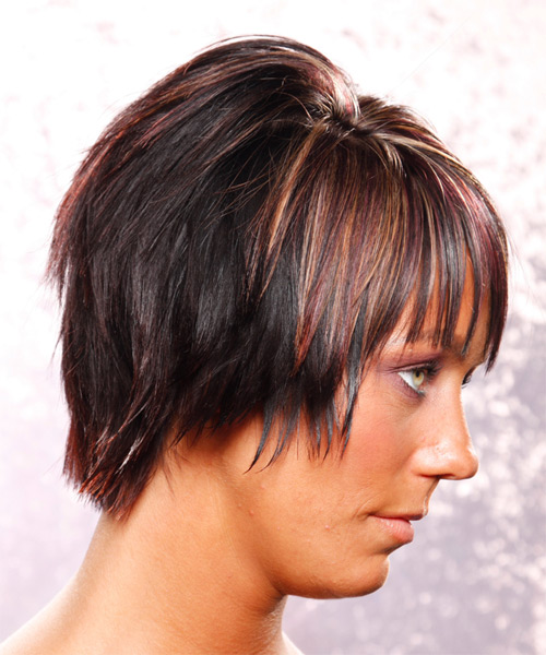 Medium Straight Casual    Hairstyle with Layered Bangs  - Dark Plum Red Hair Color with Medium Red Highlights - Side View