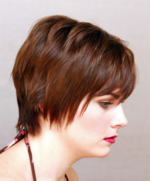 Short Straight Casual    Hairstyle   - Medium Auburn Brunette Hair Color - Side View