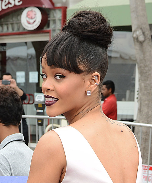 Rihanna Long Straight   Dark Mocha Brunette  Updo  with Blunt Cut Bangs  - Side View