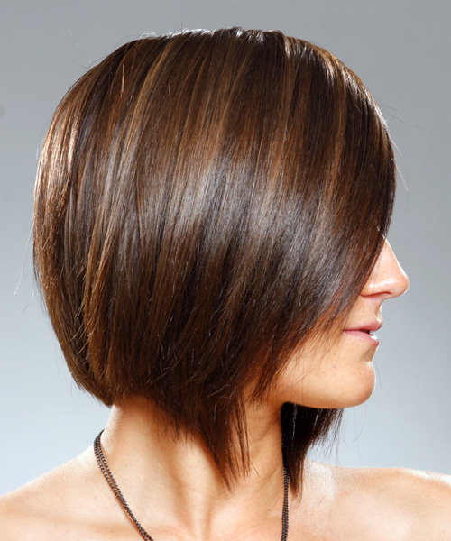 Medium Straight    Brunette   Hairstyle   - Side View