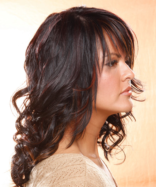 Long Wavy Casual    Hairstyle with Layered Bangs  - Dark Plum Brunette Hair Color with Medium Red Highlights - Side View