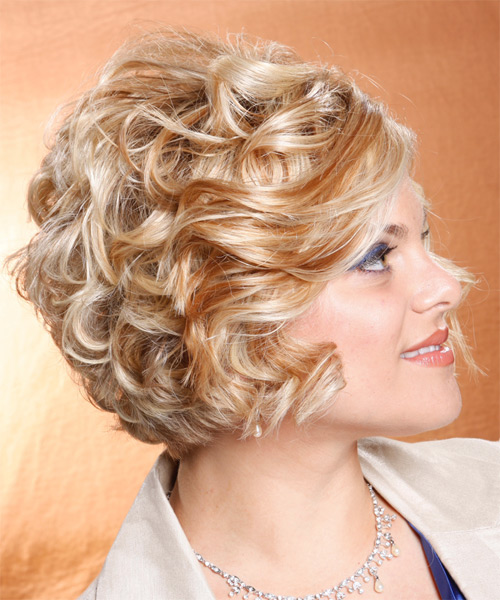 Medium Wavy Formal    Hairstyle   - Light Copper Blonde Hair Color - Side View