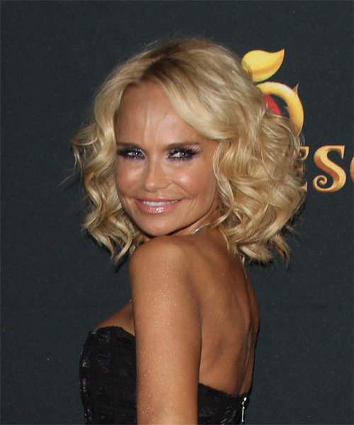 Kristin Chenoweth Medium Curly Formal    Hairstyle with Side Swept Bangs  -  Golden Blonde Hair Color - Side View