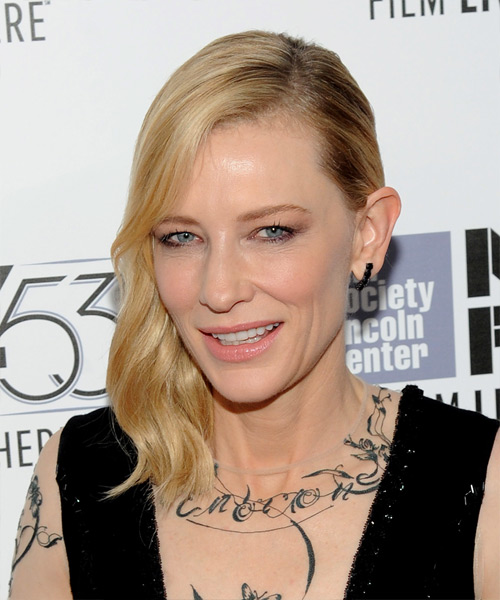 Cate Blanchett Medium Wavy Formal    Hairstyle   -  Golden Blonde Hair Color with Light Blonde Highlights - Side View