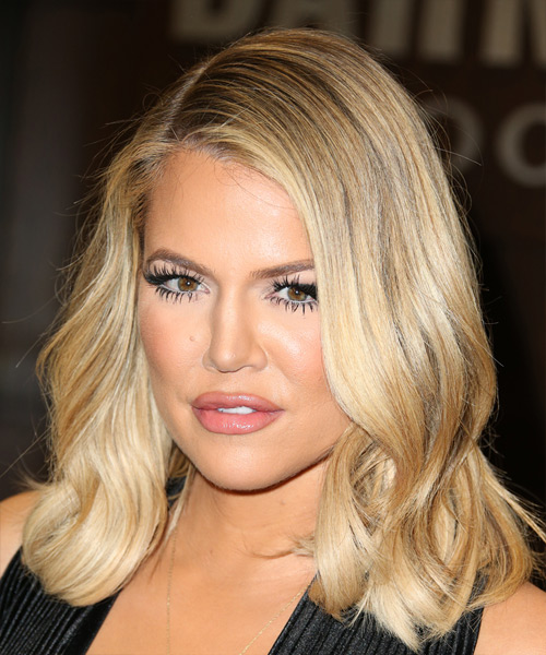 Khloe Kardashian Medium Wavy Casual   Hairstyle   - Medium Blonde - Side View
